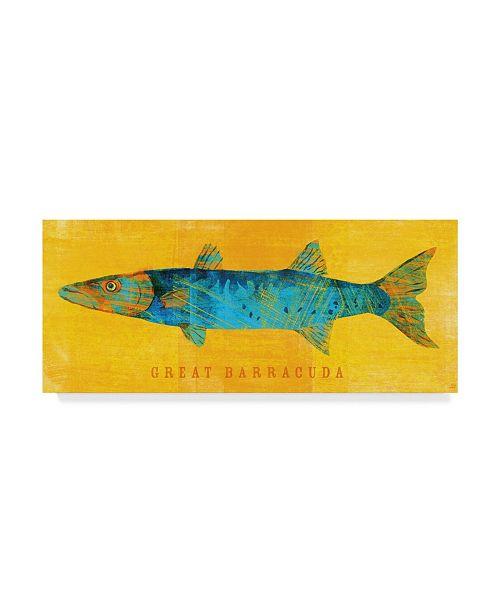 "Trademark Global John W. Golden 'Great Barracuda' Canvas Art - 8"" x 19"""