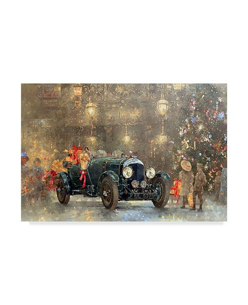 "Trademark Global Peter Miller 'Christmas Bentley' Canvas Art - 22"" x 32"""