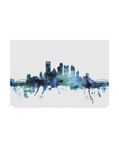 "Trademark Global Michael Tompsett 'Pittsburgh Blue Teal Skyline' Canvas Art - 32"" x 22"""