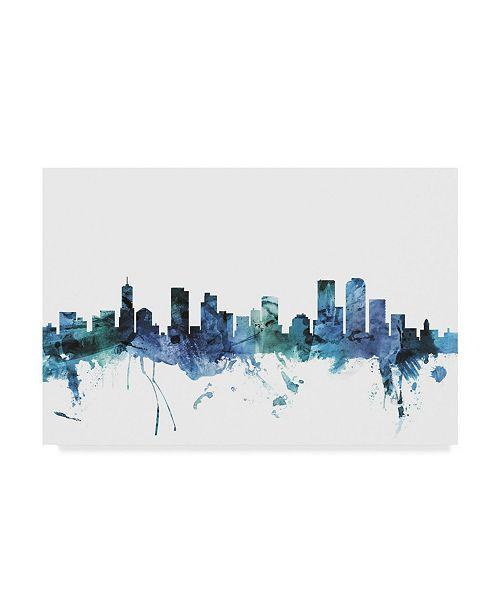 "Trademark Global Michael Tompsett 'Denver Colorado Blue Teal Skyline' Canvas Art - 24"" x 16"""