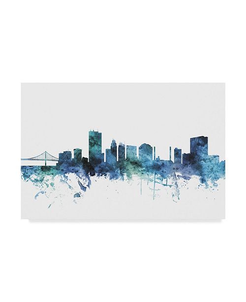 "Trademark Global Michael Tompsett 'Toledo Ohio Blue Teal Skyline' Canvas Art - 47"" x 30"""
