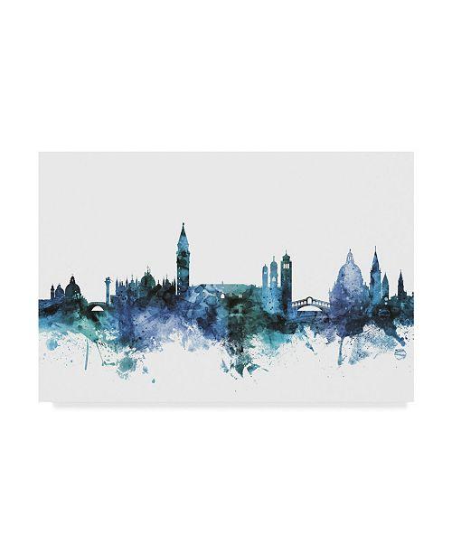 "Trademark Global Michael Tompsett 'Venice Italy Blue Teal Skyline' Canvas Art - 24"" x 16"""