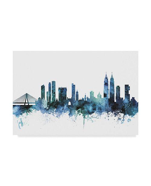 "Trademark Global Michael Tompsett 'Mumbai Blue Teal Skyline' Canvas Art - 24"" x 16"""