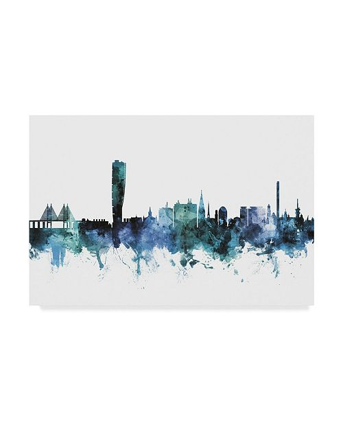 "Trademark Global Michael Tompsett 'Malmo Sweden Blue Teal Skyline' Canvas Art - 47"" x 30"""