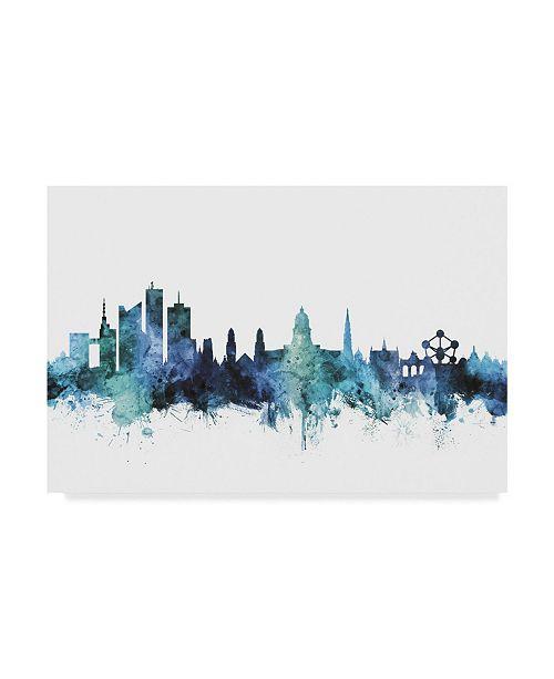 """Trademark Global Michael Tompsett 'Brussels Belgium Blue Teal Skyline' Canvas Art - 47"""" x 30"""""""