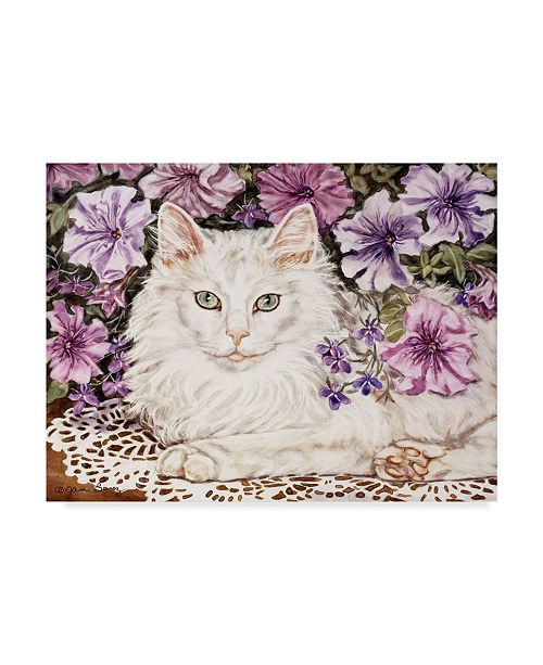 "Trademark Global Jan Benz 'Lilly White Cat' Canvas Art - 47"" x 35"""