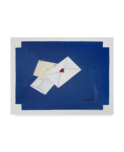 "Trademark Global Jan Panico 'Love Letters Blue' Canvas Art - 32"" x 24"""