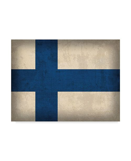 "Trademark Global Red Atlas Designs 'Finland Distressed Flag' Canvas Art - 24"" x 18"""