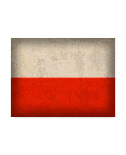 "Trademark Global Red Atlas Designs 'Poland Distressed Flag' Canvas Art - 32"" x 24"""