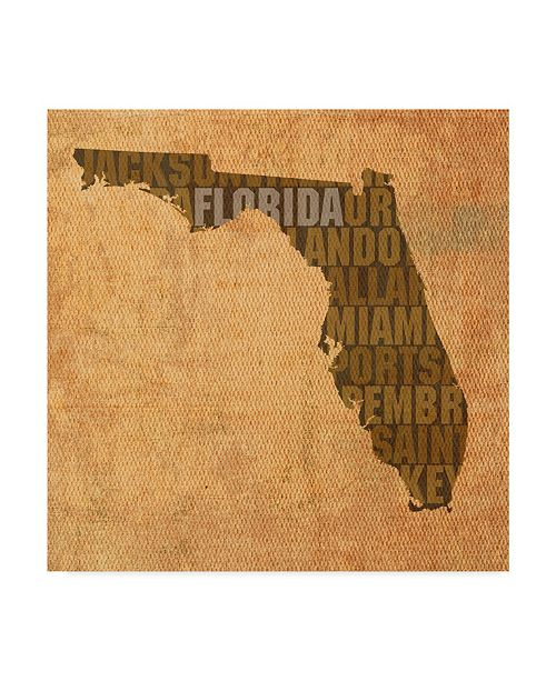 "Trademark Global Red Atlas Designs 'Florida State Words' Canvas Art - 24"" x 24"""