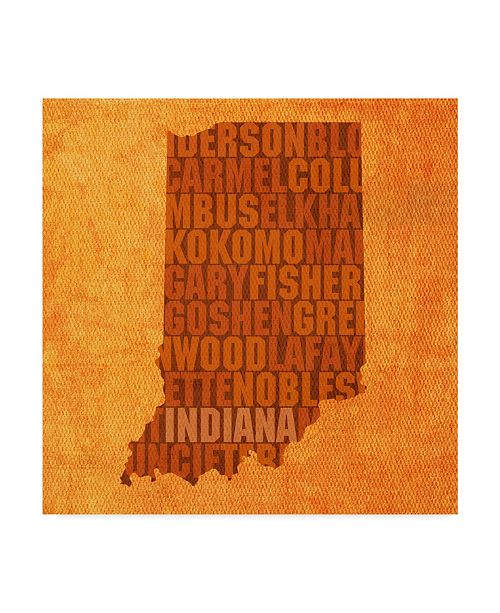 "Trademark Global Red Atlas Designs 'Indiana State Words' Canvas Art - 24"" x 24"""