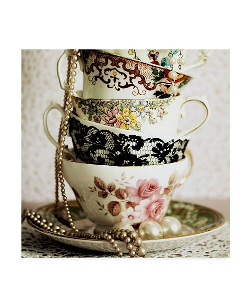 """Trademark Global Tom Quartermaine 'Antique Cups And Saucers With Pearls' Canvas Art - 35"""" x 35"""""""
