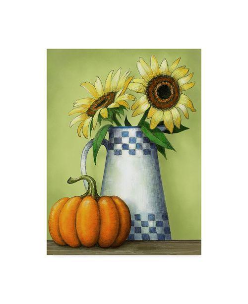 """Trademark Global Margaret Wilson 'Sunflowers And Pumpkins' Canvas Art - 35"""" x 47"""""""
