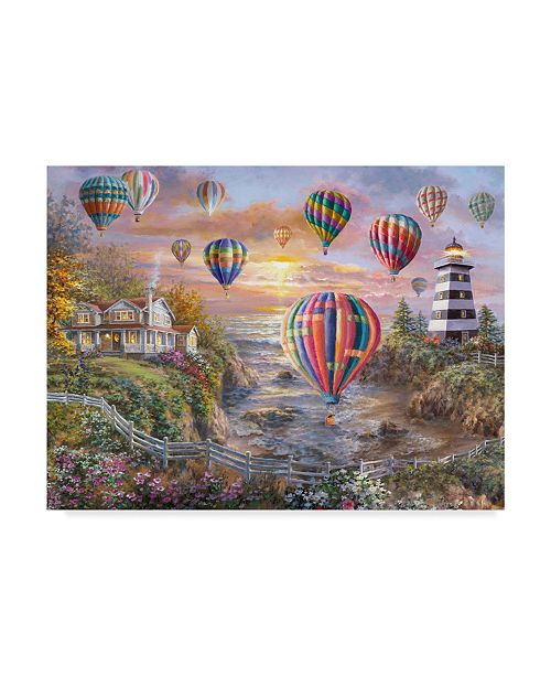 "Trademark Global Nicky Boehme 'Balloons Over Cottage Cove' Canvas Art - 47"" x 35"""