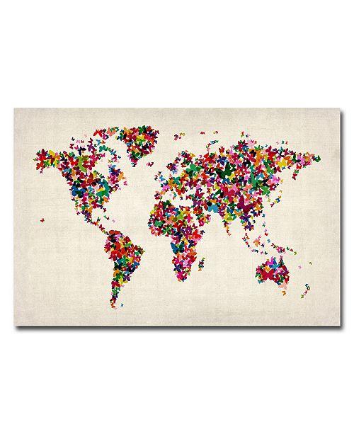 """Trademark Global Michael Tompsett 'Butterflies World Map' Canvas Art - 24"""" x 16"""""""