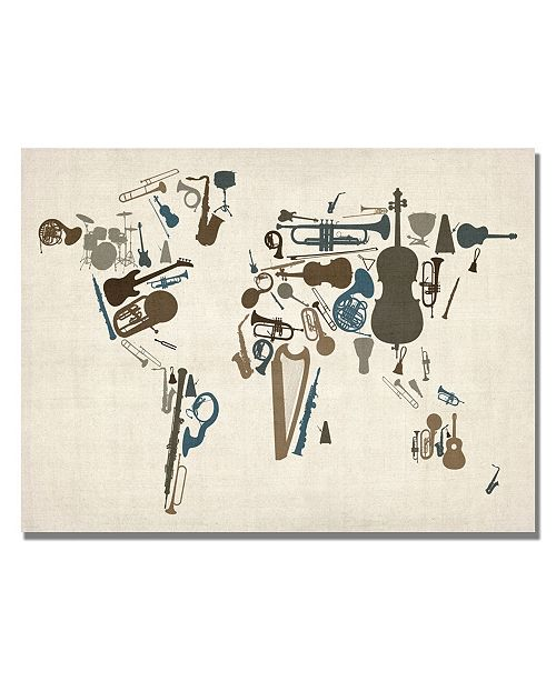 "Trademark Global Michael Tompsett 'Instrument World Map' Canvas Art - 24"" x 18"""