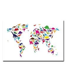 "Michael Tompsett 'Dinosaur World Map' Canvas Art - 32"" x 22"""