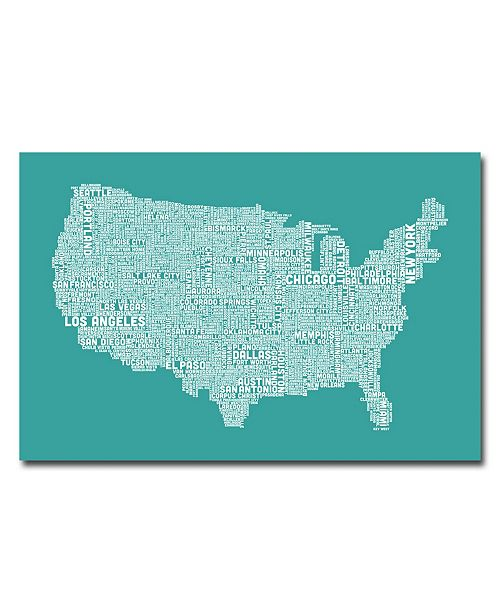 "Trademark Global Michael Tompsett 'US City Map XV' Canvas Art - 24"" x 16"""