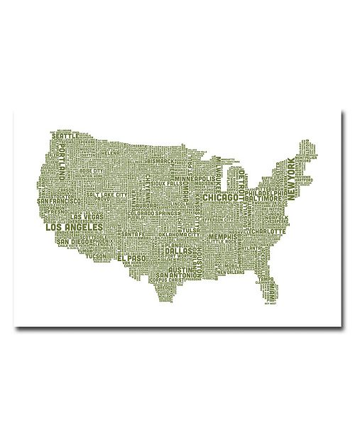 "Trademark Global Michael Tompsett 'US City Map XVIII' Canvas Art - 47"" x 30"""