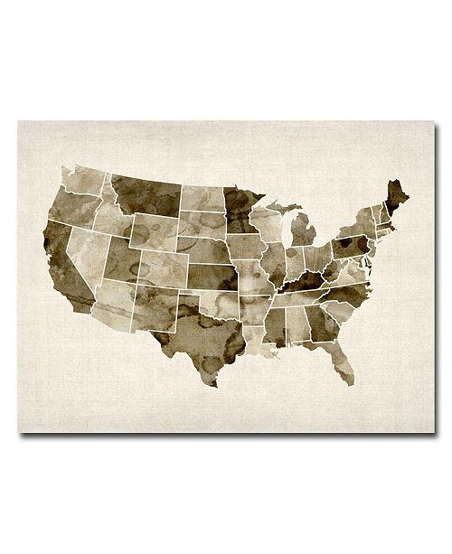 "Trademark Global Michael Tompsett 'US - Watercolor' Canvas Art - 47"" x 30"""