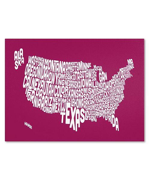 "Trademark Global Michael Tompsett 'RASPBERRY-USA States Text Map' Canvas Art - 32"" x 22"""