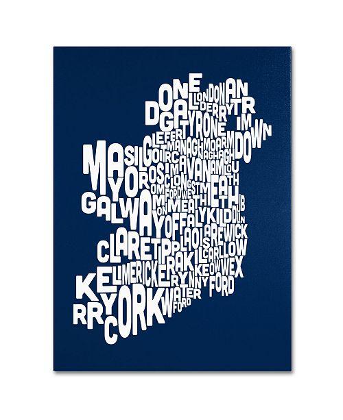 "Trademark Global Michael Tompsett 'NAVY-Ireland Text Map' Canvas Art - 47"" x 35"""