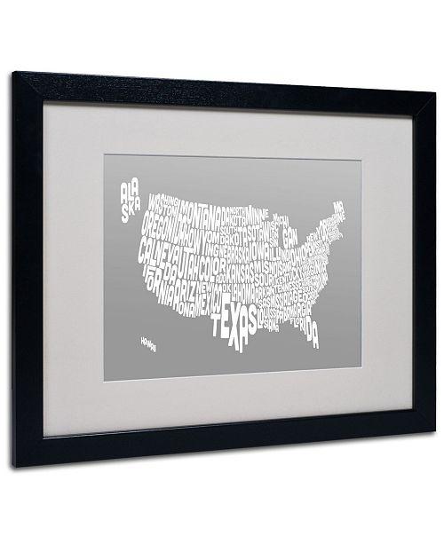 """Trademark Global Michael Tompsett 'GREY-USA States Text Map' Matted Framed Art - 20"""" x 16"""""""