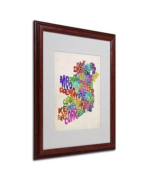 """Trademark Global Michael Tompsett 'Ireland Text Map 3' Matted Framed Art - 20"""" x 16"""""""