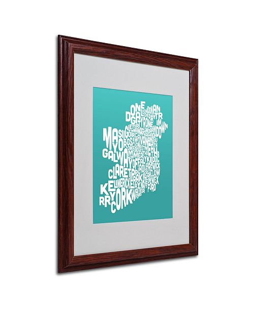"Trademark Global Michael Tompsett 'TURQOISE-Ireland Text Map' Matted Framed Art - 20"" x 16"""