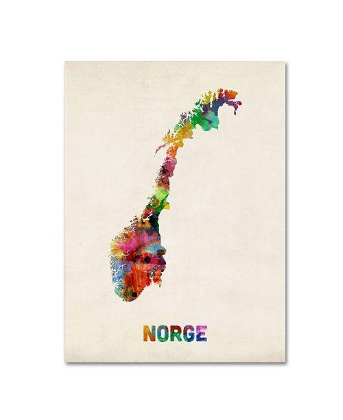 "Trademark Global Michael Tompsett 'Norway Watercolor Map' Canvas Art - 47"" x 35"""