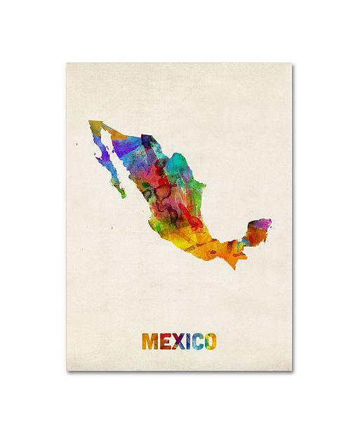 "Trademark Global Michael Tompsett 'Mexico Watercolor Map' Canvas Art - 32"" x 24"""