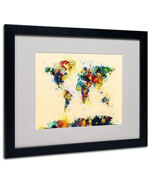 """Trademark Global Michael Tompsett 'World Map Splashes' Matted Framed Art - 20"""" x 16"""""""