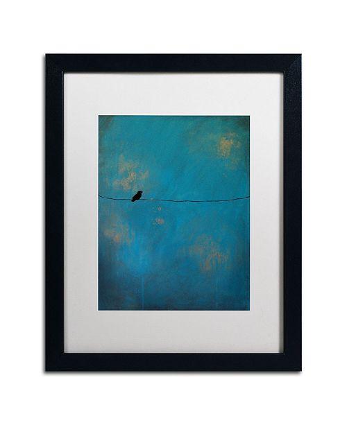 """Trademark Global Nicole Dietz 'Lone Bird Blue' Matted Framed Art - 20"""" x 16"""""""
