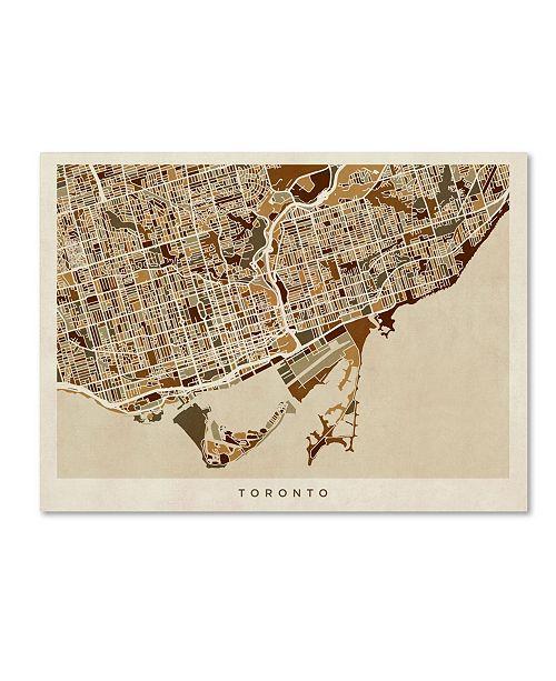 "Trademark Global Michael Tompsett 'Toronto Street Map II' Canvas Art - 35"" x 47"""