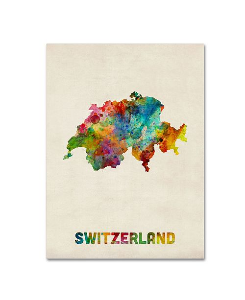 "Trademark Global Michael Tompsett 'Switzerland Watercolor Map' Canvas Art - 35"" x 47"""