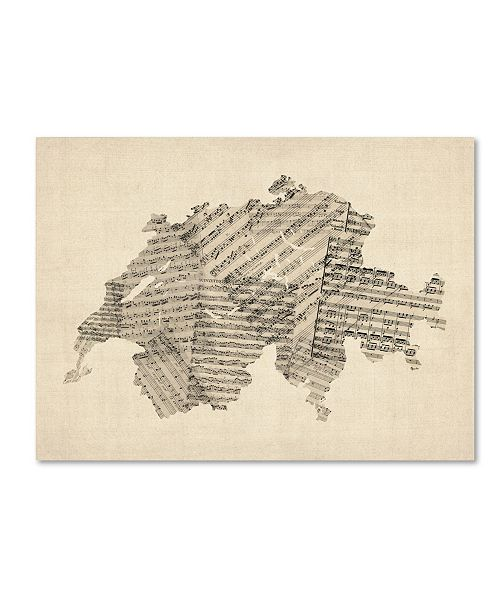 "Trademark Global Michael Tompsett 'Old Sheet Music Map of Switzerland' Canvas Art - 24"" x 32"""