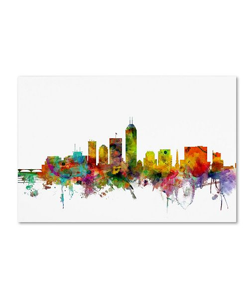 "Trademark Global Michael Tompsett 'Indianapolis Indiana Skyline' Canvas Art - 30"" x 47"""