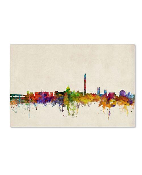"Trademark Global Michael Tompsett 'Washington Watercolor Skyline' Canvas Art - 26"" x 40"""