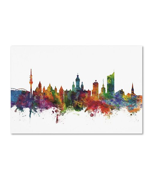 "Trademark Global Michael Tompsett 'Leipzig Germany Skyline IV' Canvas Art - 12"" x 19"""
