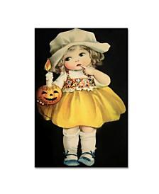 "Vintage Apple Collection 'Joyful Halloween Yellow Dress' Canvas Art - 12"" x 19"""