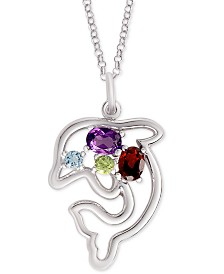 """Multi-Gemstone Dolphin 18"""" Pendant Necklace (3/8 ct. t.w.) in Sterling Silver"""