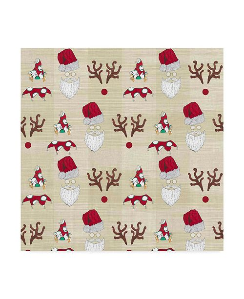 """Trademark Global Jessmessin 'Christmas Tree Characters Faces Natural' Canvas Art - 14"""" x 14"""""""