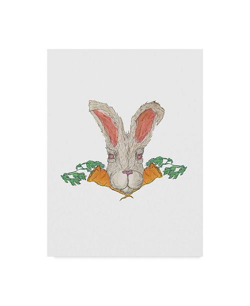 "Trademark Global Jessmessin 'Rabbit With Carrots' Canvas Art - 14"" x 19"""