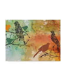"Jean Plout 'Birds On Watercolor' Canvas Art - 14"" x 19"""