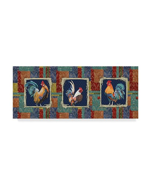 "Trademark Global Jean Plout 'Damask Rooster Panels' Canvas Art - 14"" x 32"""