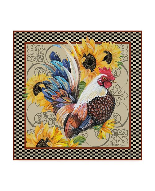 "Trademark Global Jean Plout 'Country Rooster' Canvas Art - 14"" x 14"""