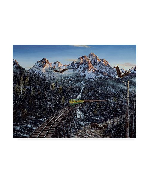 "Trademark Global Jeff Tift 'Train And Eagle' Canvas Art - 14"" x 19"""