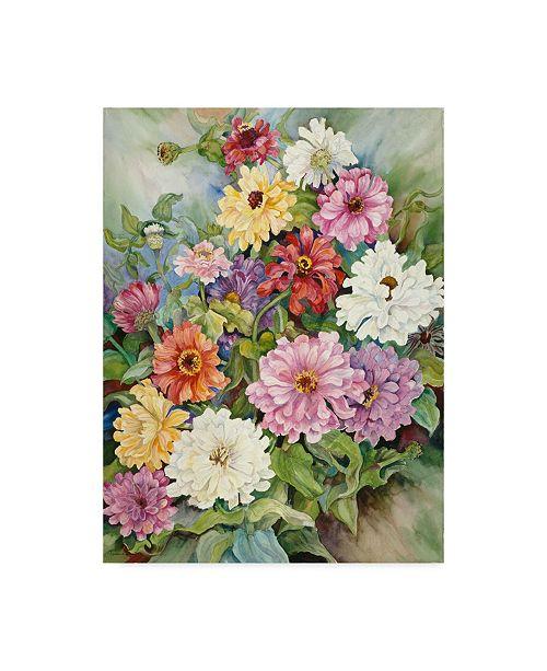 """Trademark Global Joanne Porter 'Zinnias From A Fall Garden' Canvas Art - 14"""" x 19"""""""