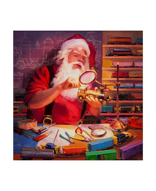 "Trademark Global Steve Henderson 'Santa The Train Master' Canvas Art - 14"" x 14"""
