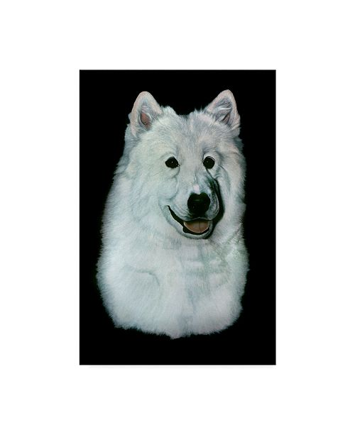 "Trademark Global Rusty Frentner 'White Dog' Canvas Art - 12"" x 19"""